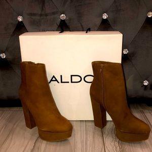 Aldo Brown Suede High Heel Boots